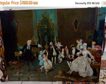 Sale Antique Style Oil Painting ca.18th C. Italian Rococo Period Interior Dancing Scene O/C Signed European Genre Art