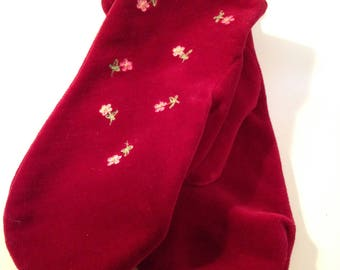 Bloomingdale's vintage dark pinky red cotton velvet embroidered mittens