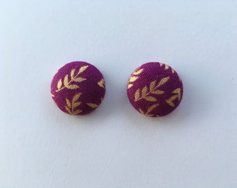 Gold Leaves on Purple Fabric Button Earrings