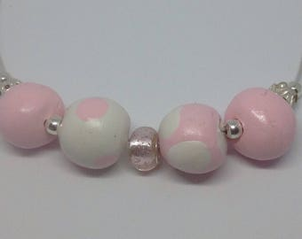 Pink clay beads