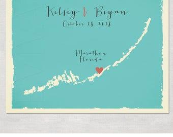 Florida Keys USA Key West Custom Map Wedding Print Destination Wedding Gift  Memento Couple print alternative Signature Guest Books