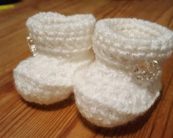 White Sparkle Crochet Baby Booties