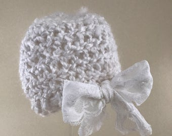Newborn photo prop white hat with lace bow
