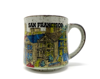 Vintage San Francisco Mug Stoneware Cityscape 1970s Alamo Square Painted Ladies