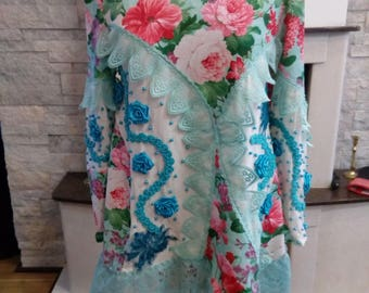 Upcycled bohemian party tunic/top  embroidered Mori/ gypsy Girl Recycled Clothing