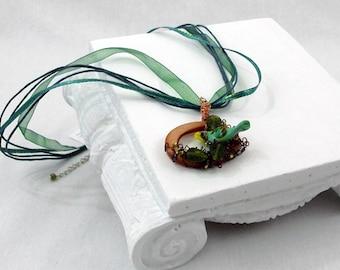Wirework Necklace | Bird Necklace | Glass Bird Necklace | Teal Bird Necklace | Woodland Necklace | OOAK Necklace | Ribbon Necklace