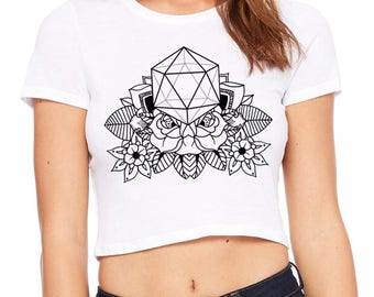 Women's IN BLOOM Sacred Geometry CROP Tee Floral Icosahedron Psychedelic Mandala Tattoo Style Belly Shirt