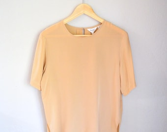 Vintage Tan/Beige Silk T-Shirt Minimalist Short Sleeve Blouse