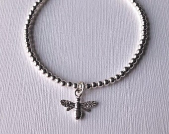 Bee charm Sterling Silver beaded bracelet stretch handmade with 3mm beads
