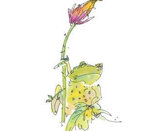 """FROG ON THISTLE..Clipart / Digital Download / Hi Resolution of Original Watercolor . 8""""x10"""" Great for a multitude of applications."""