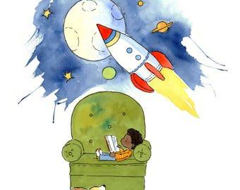 Space Story - Art Print - Children
