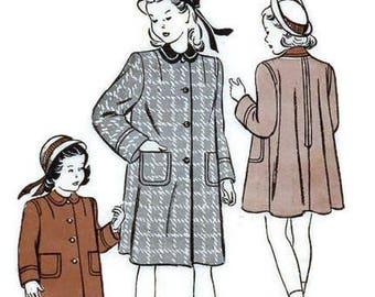 Butterick 4261 Sewing Pattern 1940s Girls Coat Swing Rockabilly Era Flared Back Jacket Toddler Size 4