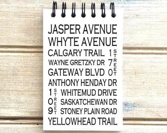 Edmonton Alberta - Love This Place - Street Name Notebook - Notepad Journal Custom Gift - Canada Busroll