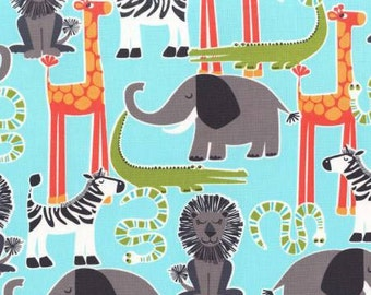 Michael Miller Aqua Safari Friends All Over Fabric - 1 yard