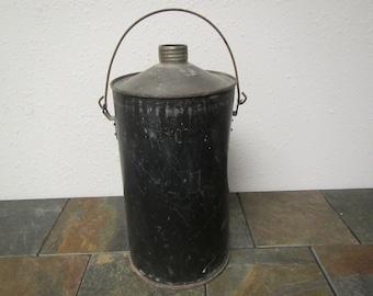 vintage Black Kerosene Tank , Fuel can , 2 gallon tank,  kerosene can