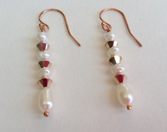 Freshwater Pearl and Rose Gold Swarovski Crystal Long Dangle Rose Gold-Filled French Hook Earrings--Lady Rose-- Earrings--by Lady Grey Beads