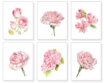 Pink Flower Prints Set Pink Floral Print Set Flower Watercolor Flower Painting Floral Painting Flower Wall Art Pink Flower Art Print Set 6.