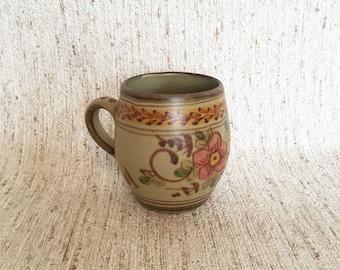 Hand-painted vintage mug with floral print