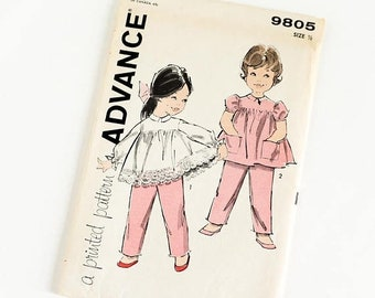 SALE Vintage 1960s Toddler Girls Size 6M Top and Pants Advance Sewing Pattern 9805 FACTORY Folds / b19 w19""