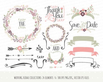 Vintage wedding invitation floral wreath clipart collection wedding invitation clipart collection hand drawn wreaths flowers decorative elements banners junglespirit Image collections