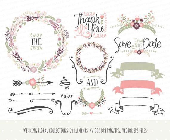 Wedding invitation clipart collection hand drawn wreaths flowers wedding invitation clipart collection hand drawn wreaths flowers decorative elements banners vector png jpg laurels cp0031 junglespirit Image collections
