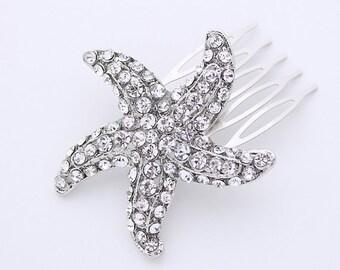 Starfish Hair Comb, Bridal Hair Clip, Beach Wedding Bridal Hair Accessory, Bridal Hair Piece, Rhinestone Starfish Hair Clip, Bridesmaid Gift