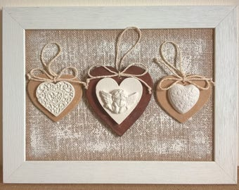 Shabby chic decorative picture frame with hearts in wood and chalk made in Italy