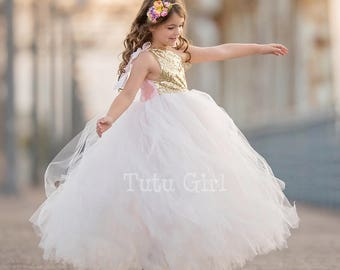 Flower Girl Dress Gold Tulle Tutu Dress, Pale Blush Tulle with Gold Sequins