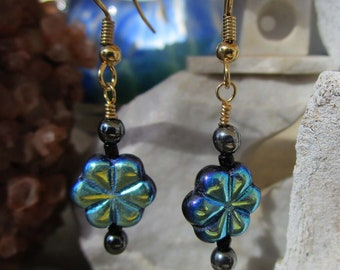 Jablonex Czech Glass~Pressed~Flowers and Leaves~Black and Peacock~Dark Fairy~For Pierced Ears~Set #2