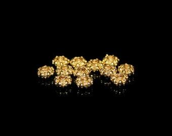Lot of Twelve 5mm 22 Karat Gold Vermeil Rondelle Granulation Beads, 12 Gold Vermeil 5mm Diameter Bali Spacers