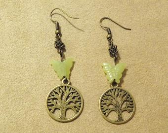 Jade Butterfly & Tree of Life Earrings