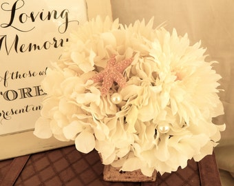 Table Centerpiece-white Silk Arrangement with Starfish and Pearl Accents