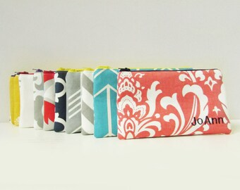 Set of 15 - Cosmetic Bag - Personalized Make up Pouch - Bridesmaid bags - Make up Organizer - Medium