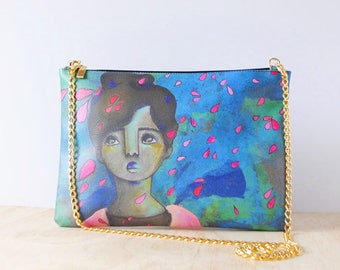 Eco-friendly Leather Clutch, 'Raffled Roses' by ChiarArtIllustration