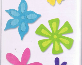 NEW Sizzix Sizzlit FLOWER SET #3 6 shapes 4 dies 654490 Works with Cuttlebug