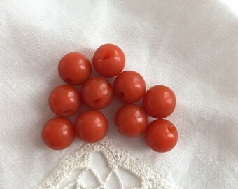 Vintage Buttons - Orange Round Ball Buttons - Set of 10 - Mid Century Plastic Buttons -  Knitting, Sewing, Crafting