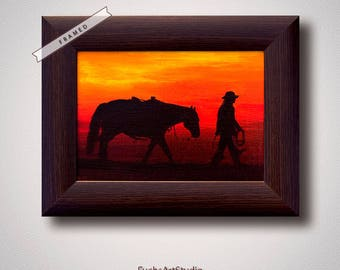 Western art cowboy horse sunset painting miniatures contemporary wall art gift for horse lover small painting framed