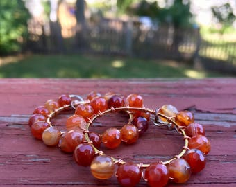 Wire Wrapped Orange Faceted Agate Earrings