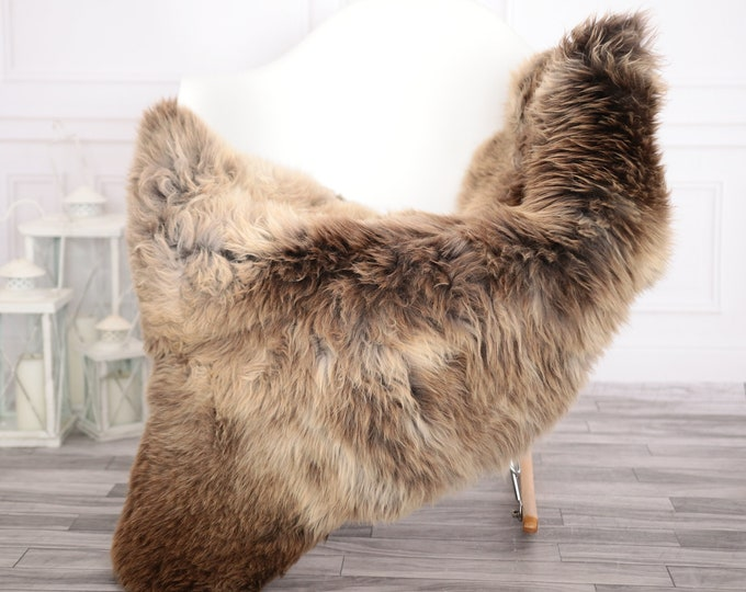 Sheepskin Rug | Real Sheepskin Rug | Shaggy Rug | Chair Cover | Sheepskin Throw | Brown Beige Sheepskin | Home Decor | #febher65