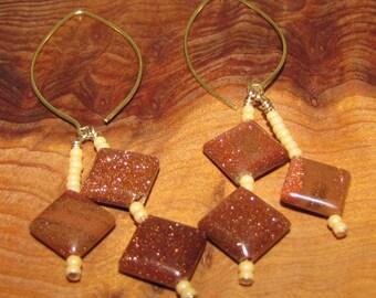 Goldstone Dangle Earrings