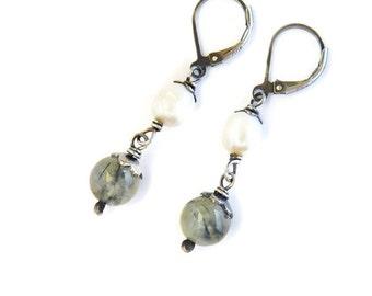 Green Rutile Pearl Earrings. Sterling Silver. White Pearl Dangles. Translucent Green Drops. Gemstone Drop Earrings. Pearl Rutile Jewelry.