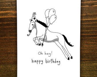 Oh Hay! Happy Birthday - Handmade Card - Horse Card