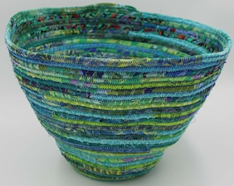 Blue and green coil clothesline basket made with 100% cotton