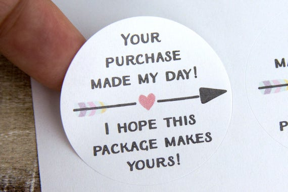 Your purchase made my day small business packaging thank you labels happy mail stickers thank you stickers 30 pieces 1 5 inches from