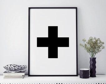 Swiss cross wall art print, best selling art, Swiss cross print, geometric print, black and white art, plus sign print, affiche scandinave