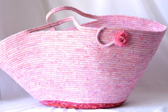 Pink Picnic Basket, Handmade Beach Bag, Batik Tote Bag, Laptop Case, Unique Gift Basket, Baby Basket, Girl Nursery  Hamper, Moses Basket