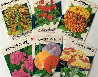 "Flower Seed Packets / 6 Vintage Seed Label packets assorted 3.25"" x 5"" Great for Altered Art, Mixed Media, Journals, etc."