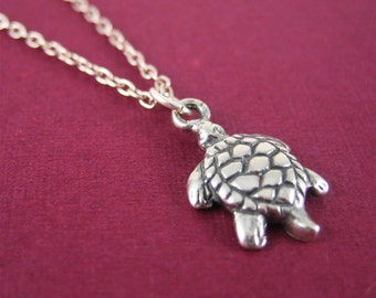 Sterling Silver Turtle Necklace Turtle Charm Necklace Birthday Wish Jewelry Gift for Women Ready to Ship