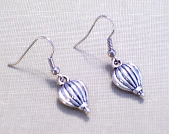 Antiqued Silver Hot Air Balloon Earrings, Whimsical Pierced Dangle Earrings