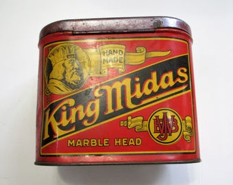 Antique King Midas Marble Head Tobacco Tin Can